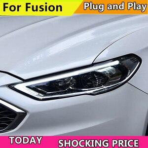 Image 2 - רכב סטיילינג ראש מנורת עבור פורד מונדיאו 2017 2018 פנסים עבור Fusion פנס דינמי היגוי DRL H7 D2H Hid Bi קסנון קרן