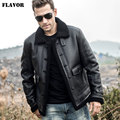 FLAVOR Men's Real Leather Jacket Men Genuine Shearling Coat with Button Closure Winter Warm Coat