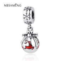 Authentic 925 Sterling Silver Bead Charm Glaze Christmas Deer With Snowflake Pendant Beads Fit Pandora Bracelet