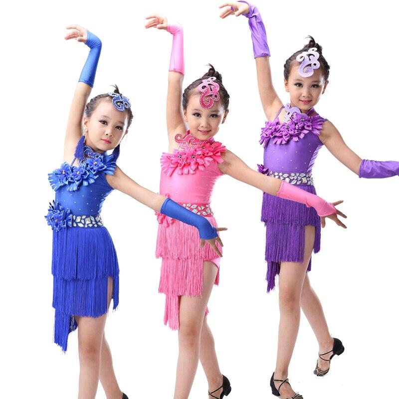 New Style Latin Dance Costume Fringe Tassel  Girls Dance Dress Cute Boutonniere Latin Dance Competition Performance Dress
