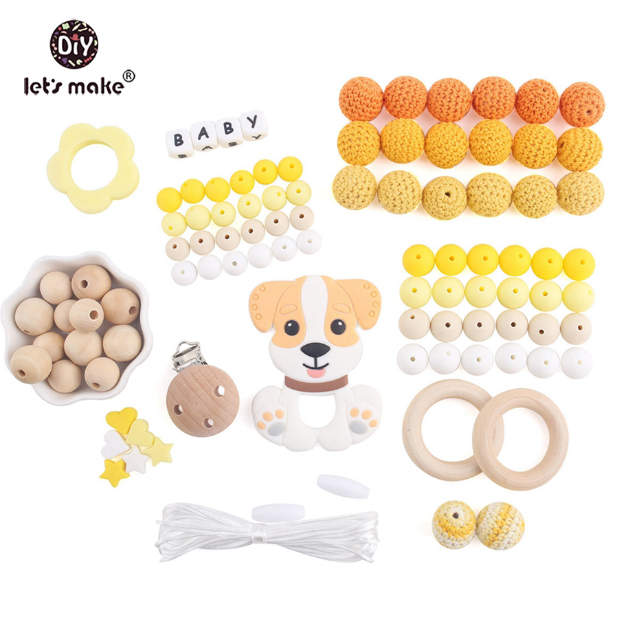 Let's Make Silicone Cartoon Dog Pendant DIY Beads Set BPA Free Can Chew Crochet Beads Teething Wood Rings Baby Silicone Teether