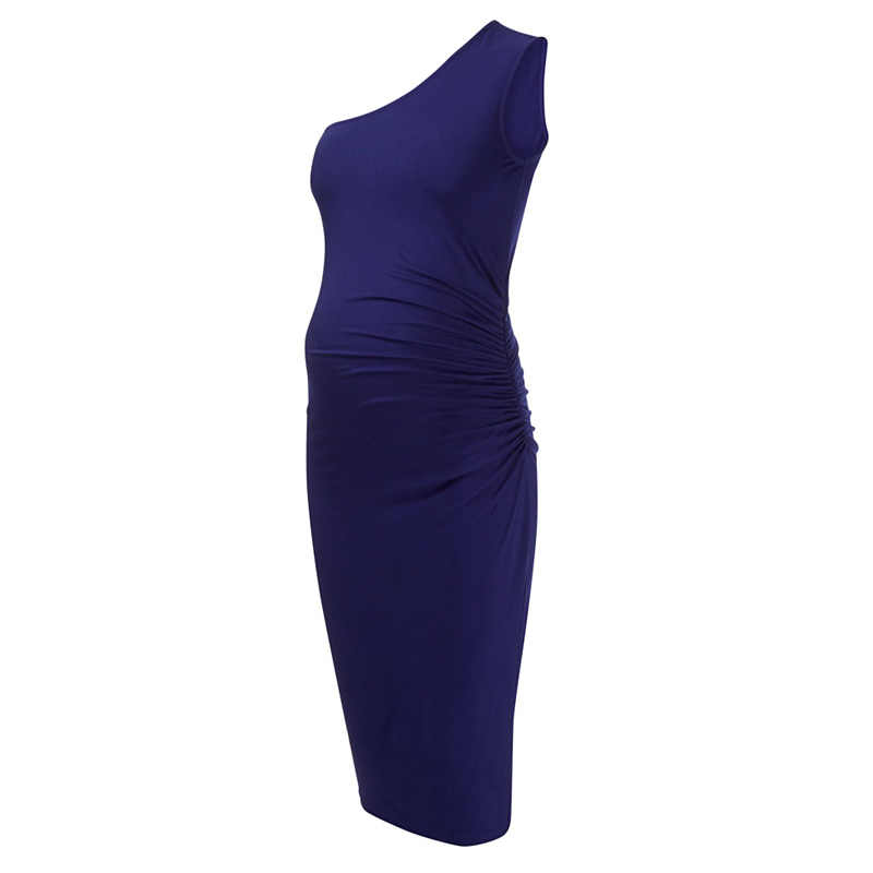f1bfa9ef709 ... 95% Tencel свободные эластичные с открытыми плечами до колена платья  для беременных женщин шикарные материнства