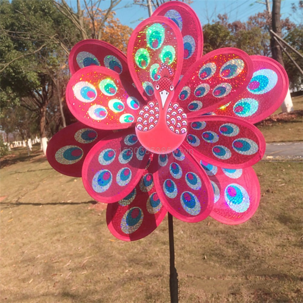 Toy Windmill Colourful Wind-Spinner Garden-Decor Sequins Peacock Yard Double-Layer Kids