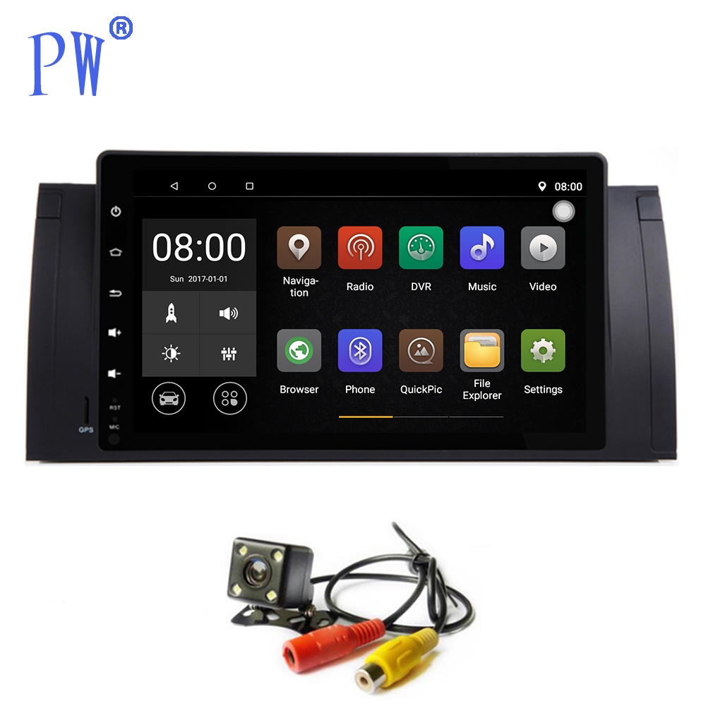 GPS de voiture Navi 9 pouces Android 7.1/8.0 pour BMW E53 X5 E39 5 M5 1997-2006 lecteur multimédia de voiture tactile lecteur Radio Wifi Navigation BT