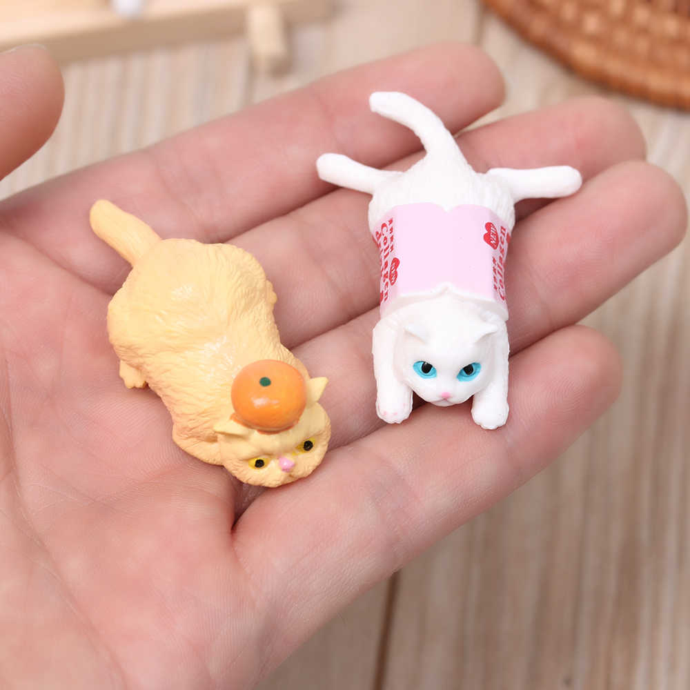 1PC Fairy Garden Decor Happy Cat Figurines Kitten Models Cartoon Animal Miniature Catling DIY Home Decoration Toy Random Color