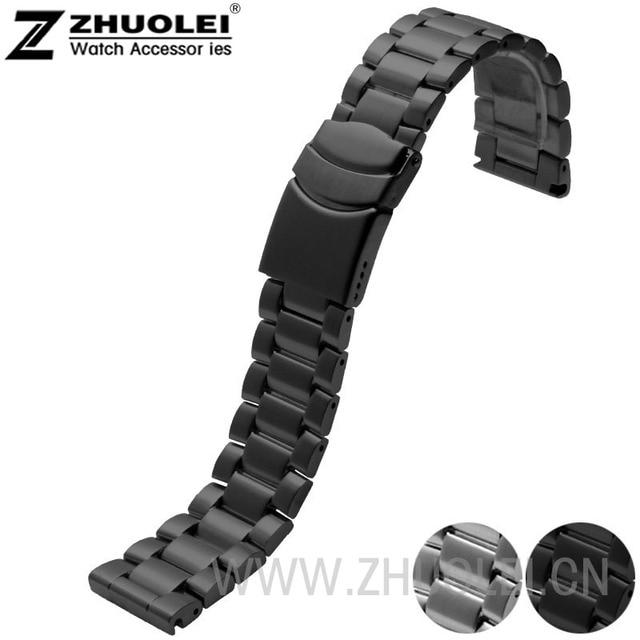 Новые люди ремешок 23 мм браслет из нержавеющей стали группа развертывания застежка с точностью стали черный матовый стиль