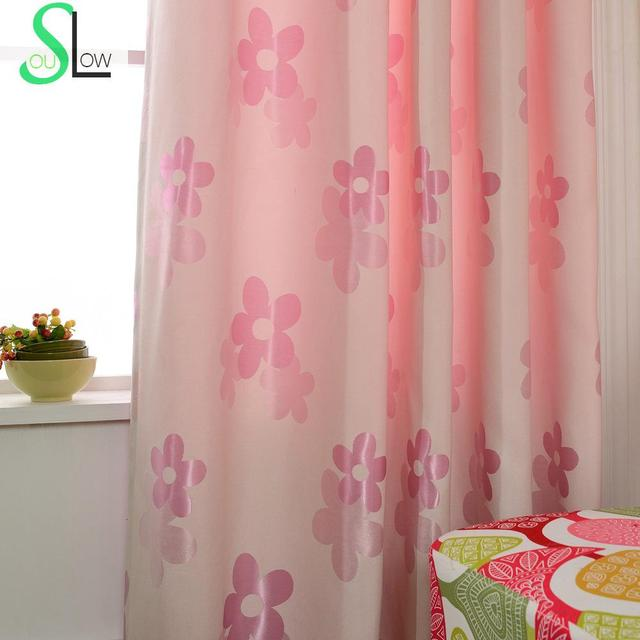 Flower Season Jacquard Shade Curtain Pink Plant Curtains For Living ...