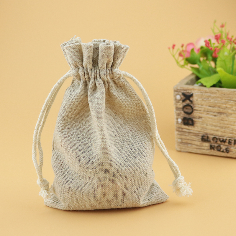 Us 3 51 12 Off Factory 10x14cm 10pcs Natural Color Small Burlap Drawstring Bags Linen Cotton Wedding Party Candy Christmas Gift Bag In