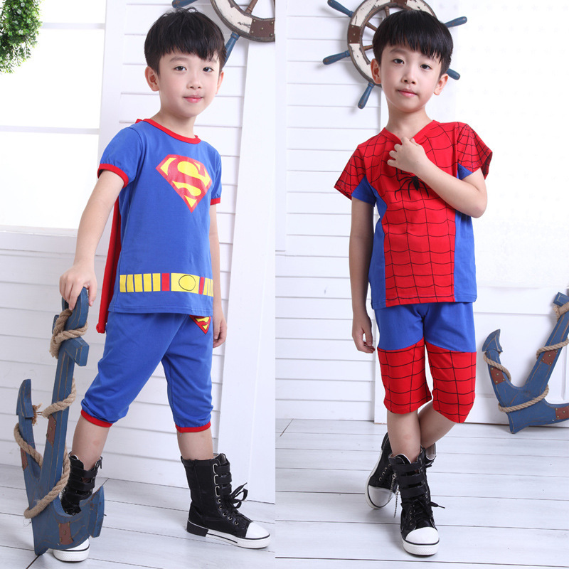 Super man/Spider man Boys Clothes Autumn Spring Summer Short/Long Sleeve t shirt/Pant Kids Children Cotton Shirts Clothing Set  summer t shirts for boys cotton kids shirts dinosaur short sleeve pullover clothes v neck boy t shirt fashion children clothing