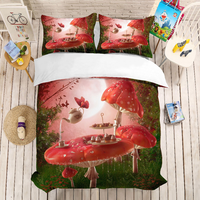 MUSOLEI 3D Duvet Cover Set nightmare pink mushroom table, snack afternoon tea.Soft Bed Bedding Set Twin Queen King Size