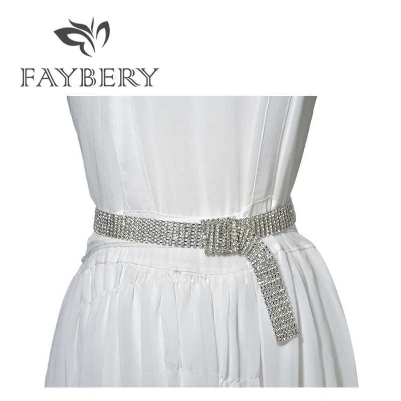 ファッション豪華なフルラインストーンの女性ベルト女性のためのクリスタルダイヤモンドの腰のチェーンベルトパーティードレスのためのブリンブリンラインストーン