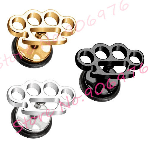 Crown Ear Stud Earring Steel Black Gold 316l Stainless Cut Off Logos 60pieces Lot Fake Plugs Barbell Fashionjewelry In Earrings From Jewelry