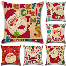 цена на Cute Santa Claus Pillow Cover Merry Christmas Home Bedroom Office Seat Pillowcase Cartoon Linen Pillow Case 45x45cm