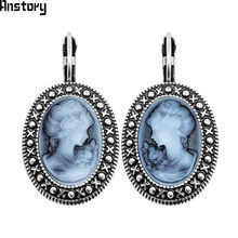 Lady Queen Cameo Hook Earrings For Women Vintage Look Antique Silver Plated Fashion Jewelry TE491(China)