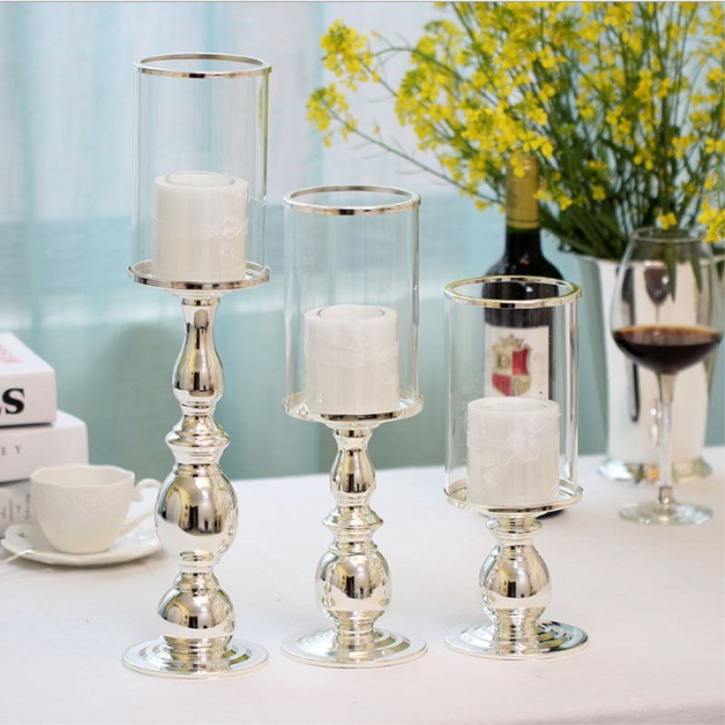 European High grade Silver Plated Wrought iron Candlestick Home Wedding Bar Ornaments Romantic Home Decorations