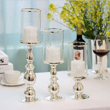 European High-grade Silver Plated Wrought iron Candlestick Home Wedding Bar Ornaments Romantic Decorations