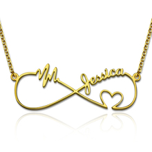 Wholesale Infinity Necklace Personalized Names Necklace with Heartbeat Jewelry Gift for Women татуировка переводная heartbeat