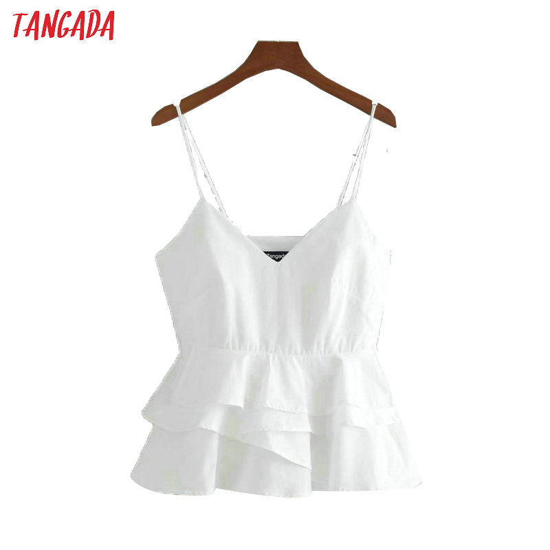 Tangada Women Ruffles Tops Sexy V-neck Tanks Side Zipper Strappy Backless Camisole Short Tops 2017 White Camis 3D01
