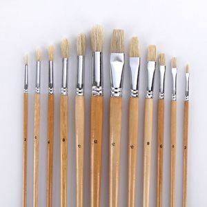 Image 3 - 38Pcs Paint Brushes Set With Canvas Bag Case Long Wooden Handle Synthetic Hair Art Supplies For Oil Acrylic Watercolor Painting