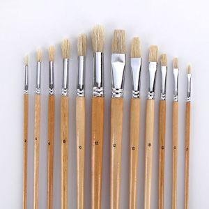 Image 3 - Ensemble de pinceaux à peindre avec un sac en toile, 38 pièces, avec un Long manche en bois, fournitures dart capillaire pour peinture aquarelle acrylique