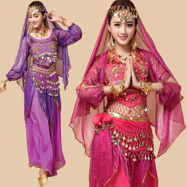 4pcs Whole Set New Style Belly Dance Costumes Bollywood