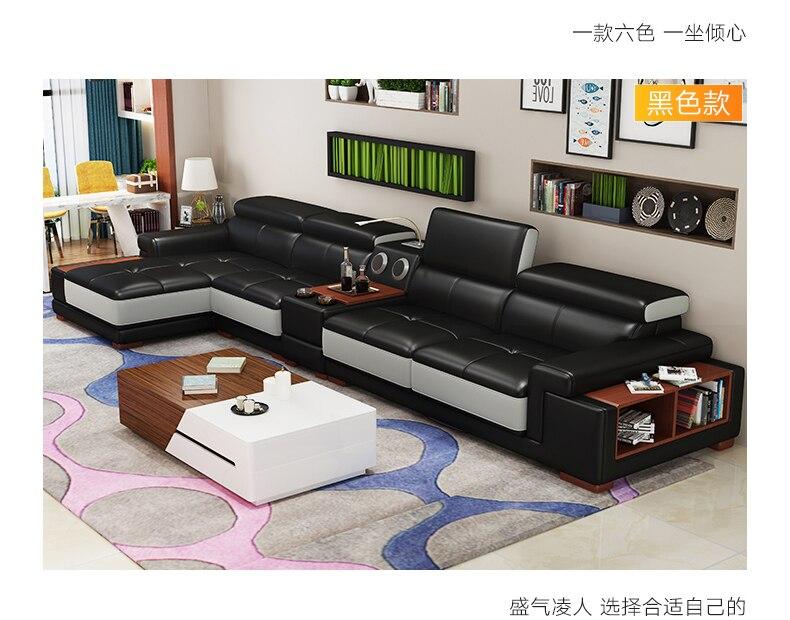 Sofa Living-Room Real-Genuine-Leather with Storage-Speaker Led-Light Muebles-De-Sala
