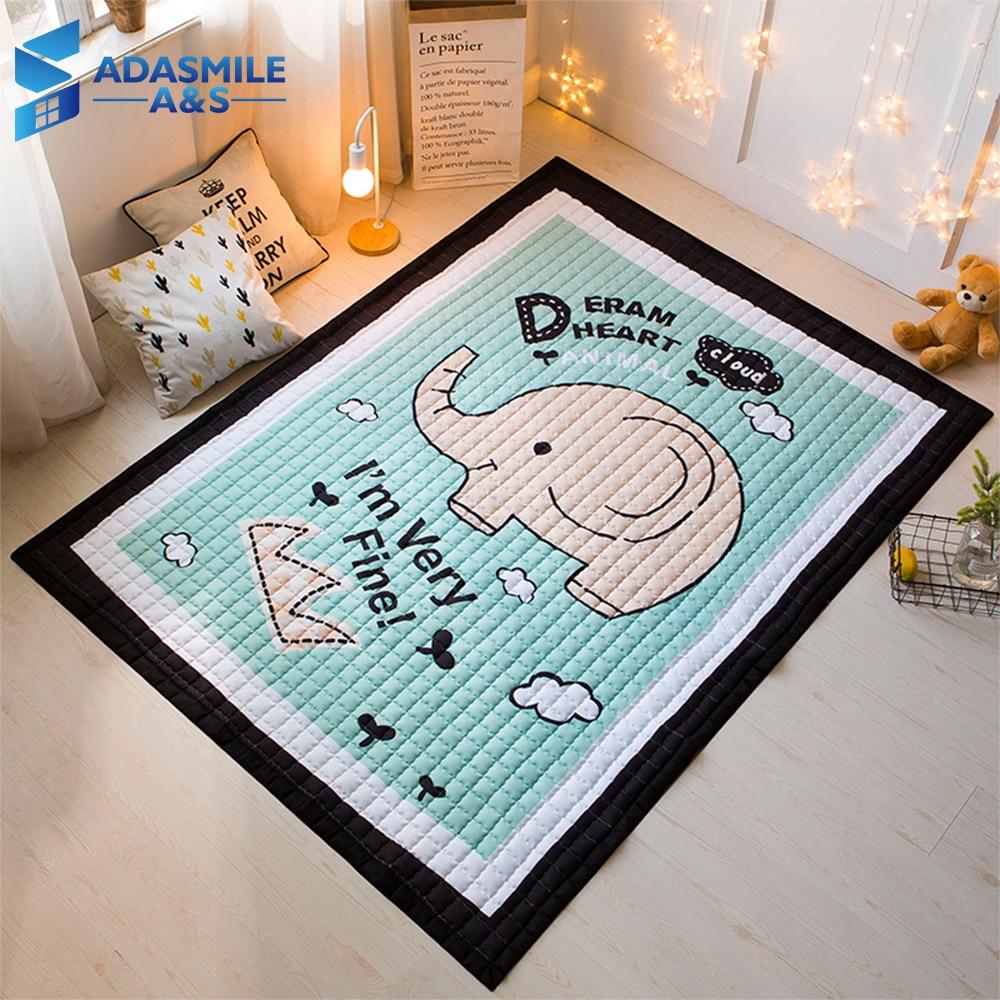 Tapis nordique pour chambre d'enfants tapis matelassé Tatami tapis de zone chambre dessin animé bleu éléphant rampant tapis de jeu tapis de salon
