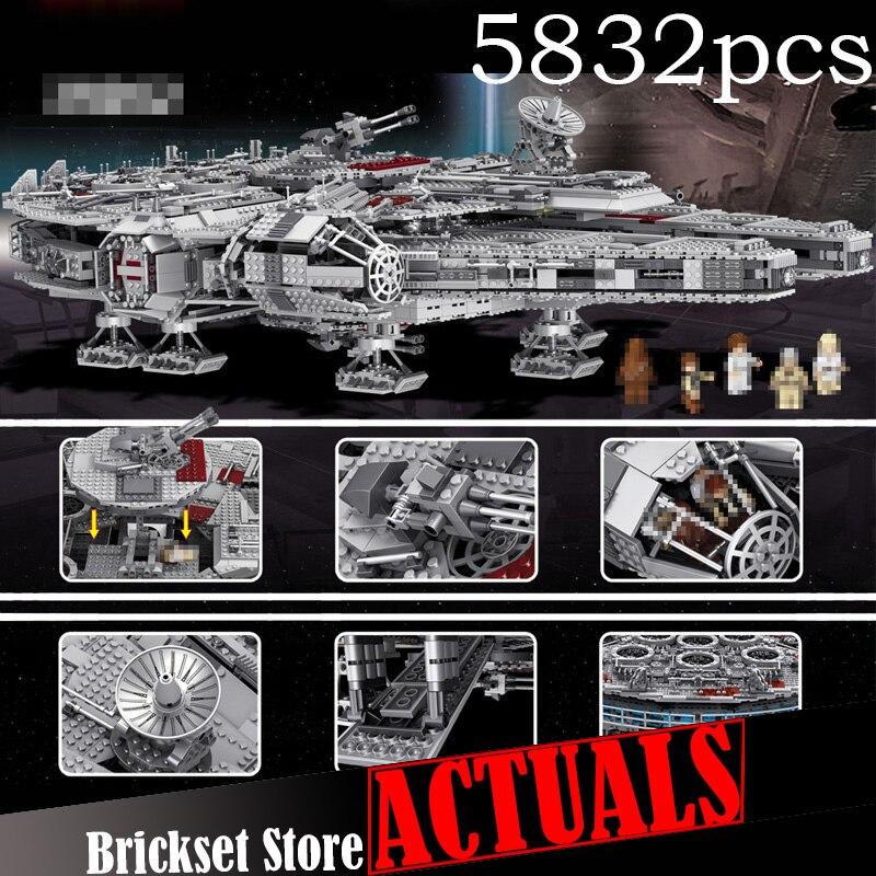 LELE unids 5382 piezas Star Ultimate coleccionista Millennium Falcon Wars modelo bloques de construcción juguetes para niños 05033 legoINGly 10179