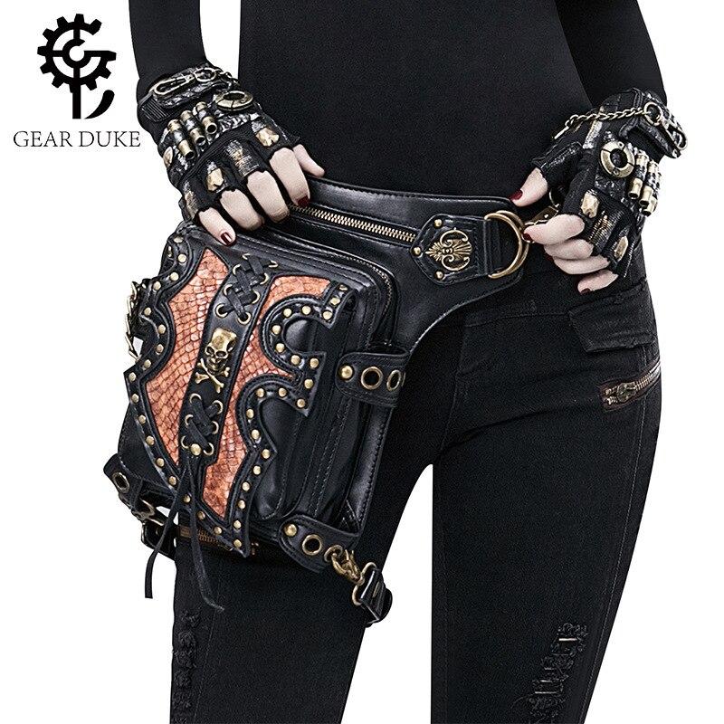 Homme marque designer punk harley locomotive taille sac en cuir souple rivet épaule messenger croix corps sacs tactique sac à main bolsos