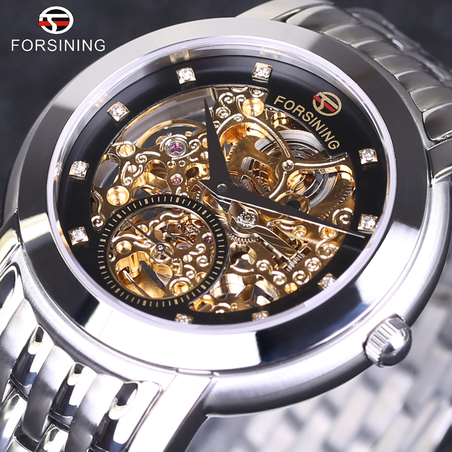 Automatic Mechanical Wristwatch Relogio Releges 2017 FORSINING Men Luxury Brand Vintage Skeleton Stainless Steel Watch Gift Box fashion winner men luxury brand gold skeleton genuine leather watch automatic mechanical wristwatches gift box relogio releges