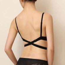 2017 Sexy Cross Halter-Neck Women Push Up Bra One-Piece Seamless Solid Underwear Invisible Deep U Plunge Bra #12 SV008101