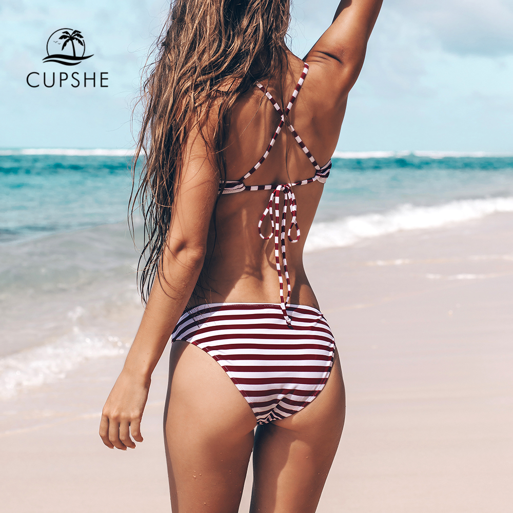 CUPSHE Purple And White Striped Crisscross Lace-Up Bikini Sets Women Sexy Thong Two Pieces Swimsuits 2020 Girl Bathing Suits 1
