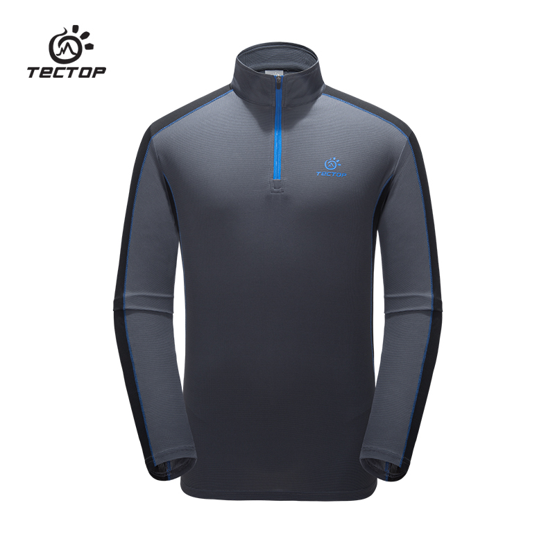Tectop Quick-Dry T Shirt Polyester Long Sleeve Tops Tees Active camping hiking fishing breathable t-shirt for men