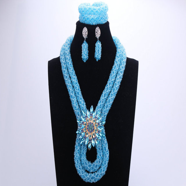 African Costume Jewelry Set Blue For Women  3 Pics Nigerian Wedding Bead Necklace Set For Brides Free Shipping 2018 Turkish