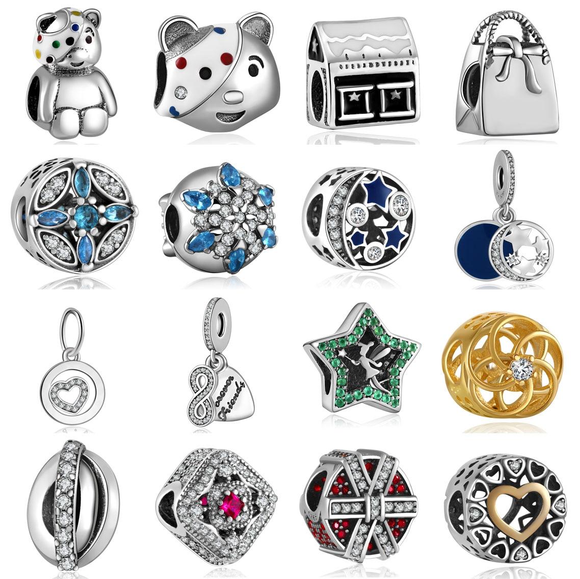 forró 925 ezüst európai köbméter cirkónia gyöngy gyöngyök illik Pandora stílus karkötő medál nyaklánc DIY ékszer eredetik