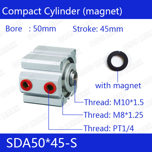 SDA50*45-S Free shipping 50mm Bore 45mm Stroke Compact Air Cylinders SDA50X45-S Dual Action Air Pneumatic Cylinder sda50 15 s free shipping 50mm bore 15mm stroke compact air cylinders sda50x15 s dual action air pneumatic cylinder