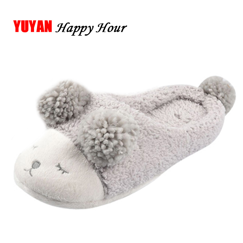 New 2019 Winter Slippers Women Home Shoes Cartoon Sheep Fashion Women's Slippers Warm Soft Ladies Brand Shoes Cute Indoor ZH2382