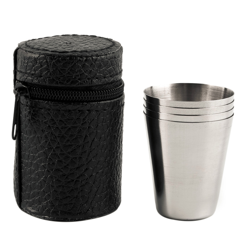 OUTAD 4PC/Set Stainless Steel Drinking Coffee Tea Beer Cup Holiday Picnic Camping Cover Mug With Case 30ML/70ML/180ML