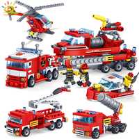 348pcs Fire Fighting Car Helicopter Boat Building Blocks Compatible Legoed City Firefighter Figure Bricks Children Enlighten