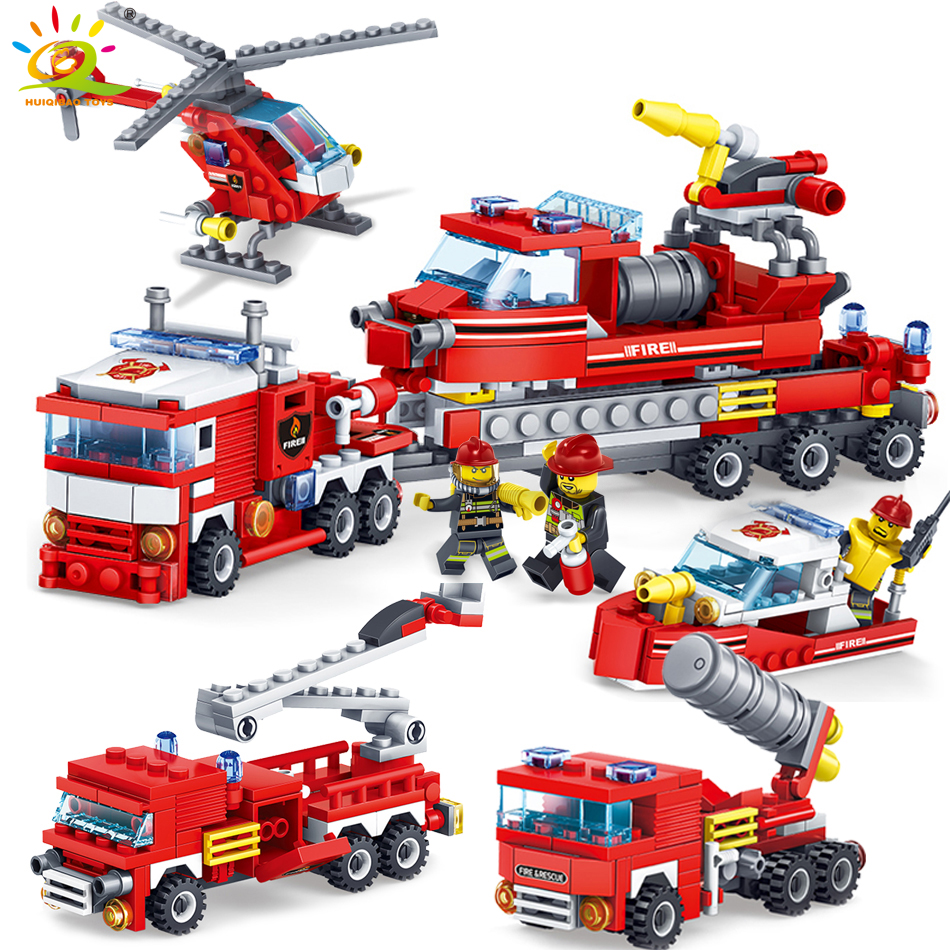 KAZI 348pcs Fire Fighting car Helicopter boat Building Blocks Compatible legoed city Firefighter Bricks children Enlighten Toy kazi 608pcs pirates armada flagship building blocks brinquedos caribbean warship sets the black pearl compatible with bricks