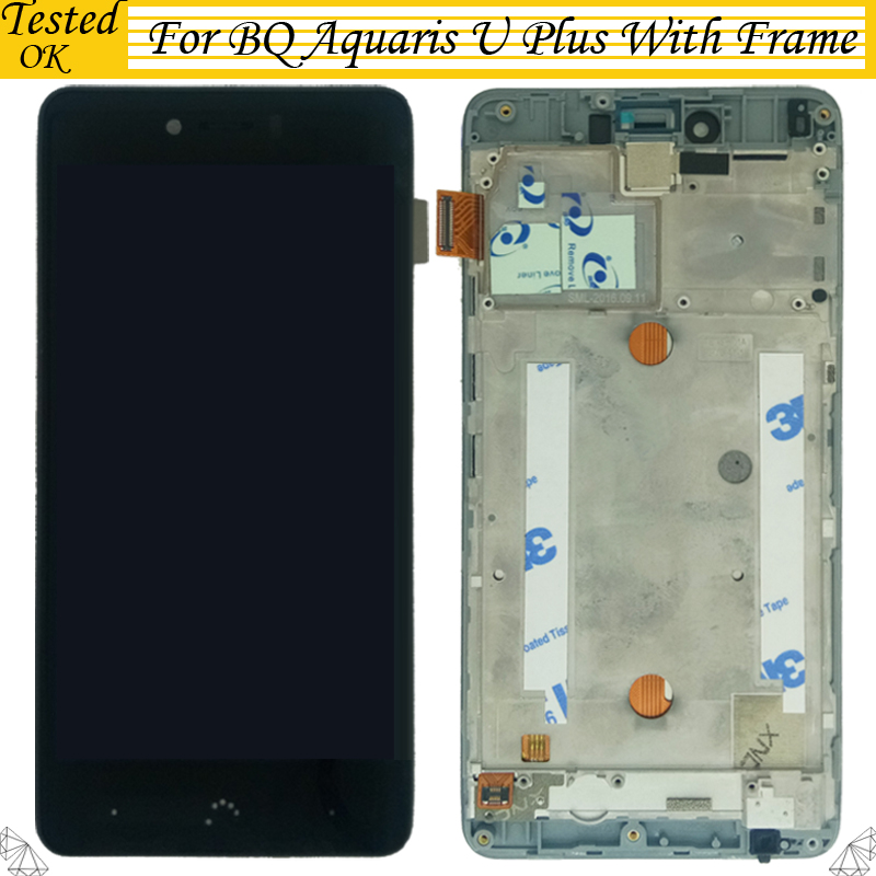 High Quality Black For BQ Aquaris U Plus LCD Display+Touch Screen Assembly With Frame Panel Tactil