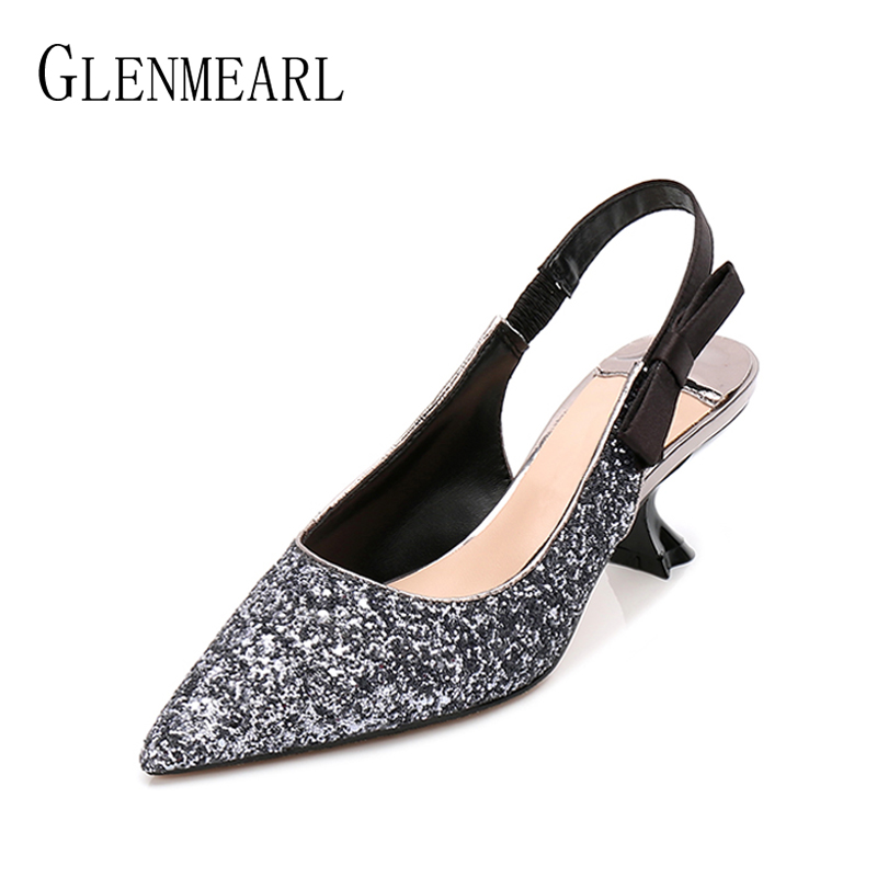 Brand Women Pumps High Heels Shoes Spring Pointed Toe Slip On Woman Wedding Shoes Bling Dress Shoes Ladies Plus Size 2018 DE ksjywq plus size women red pumps slip on summer dress shoes 10 cm high heels sexy pointed toe woman stilettos box packing 1259 1