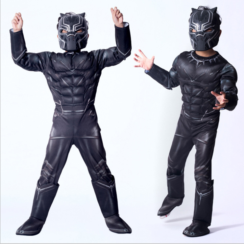 Avengers Hero Black Panther Cosplay Jumpsuits Halloween Carnival Masquerade Birthday Costume Gift for Children