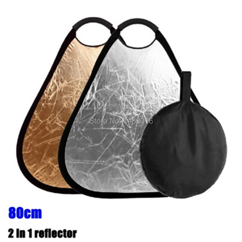 80cm 2 in 1 Gold Silver Reflector Portable Folding Hand Grip Collapsible for Photos Studio Camera Photograph Flash Speedlite