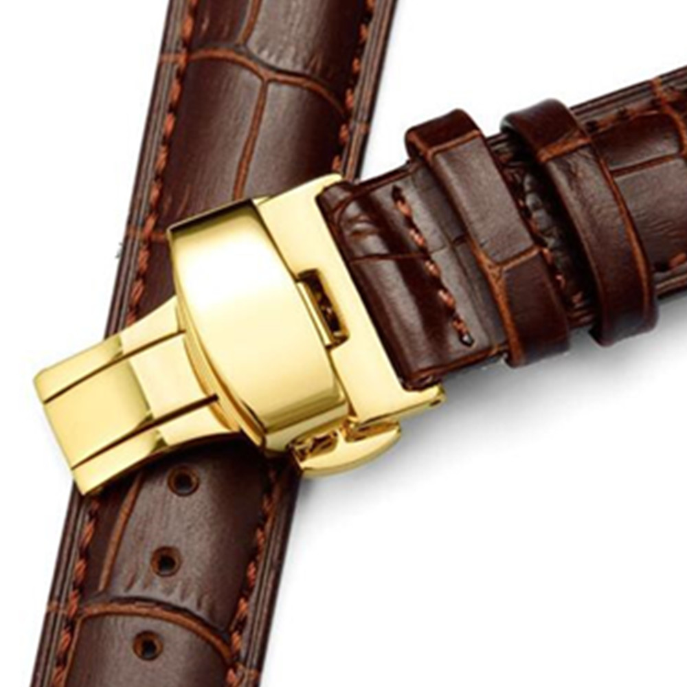 Genuine Leather watch band 16 18 19 20 21 22 24 mm Watche Band strap Belt Watchband Gold Folding Clasp Buckle Tool in Watchbands from Watches