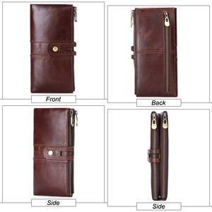 Image 3 - MISFITS 2019 yeni uzun cüzdan erkek hakiki deri debriyaj çanta kart tutucu para çantası kadın portemonnee fermuar çile telefon çantası