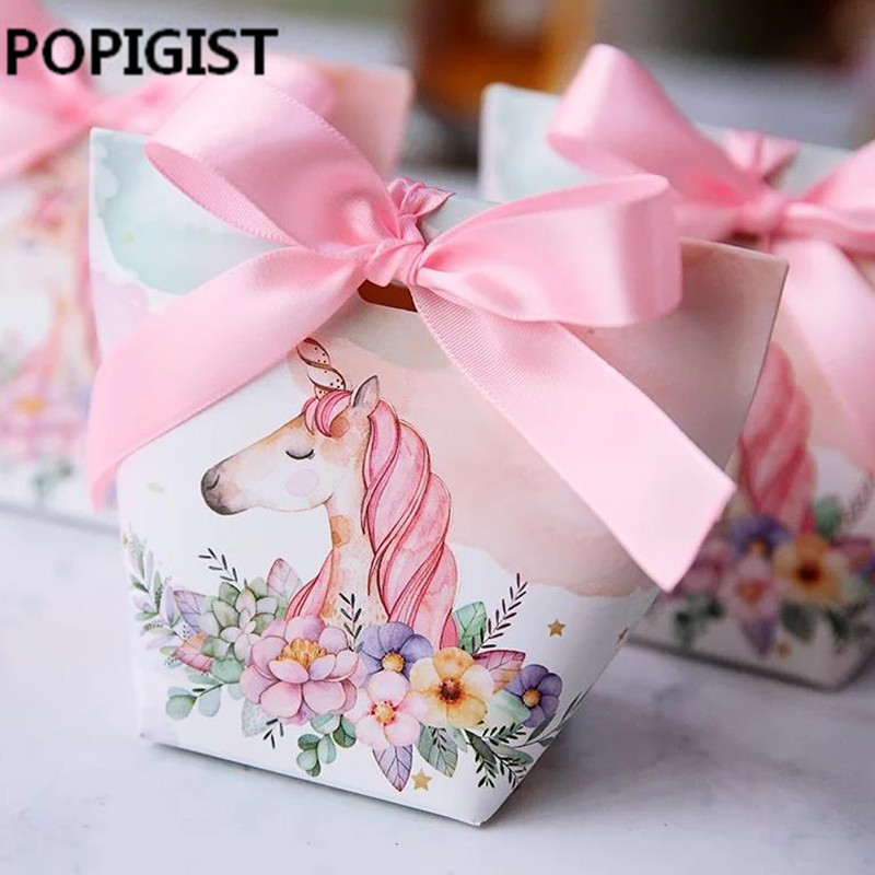 Festive & Party Supplies Personalized Cartoon Unicorn Candy Boxes Wedding Favors Bomboniera Party Gift Box Paper Package Rainbow Horse Candy Bag Diy Box