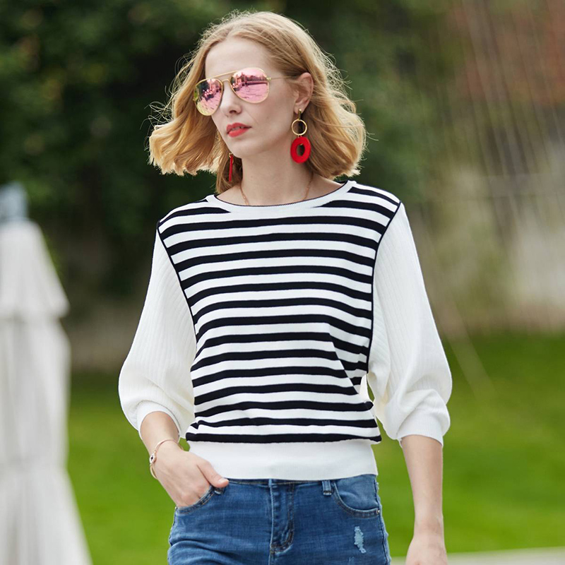 2019 New Spring Women 39 s Knitted Striped Sweater Elegant Women 39 s White Pullover Sweater Casual Loose Bat Sleeve Striped Sweater in Pullovers from Women 39 s Clothing