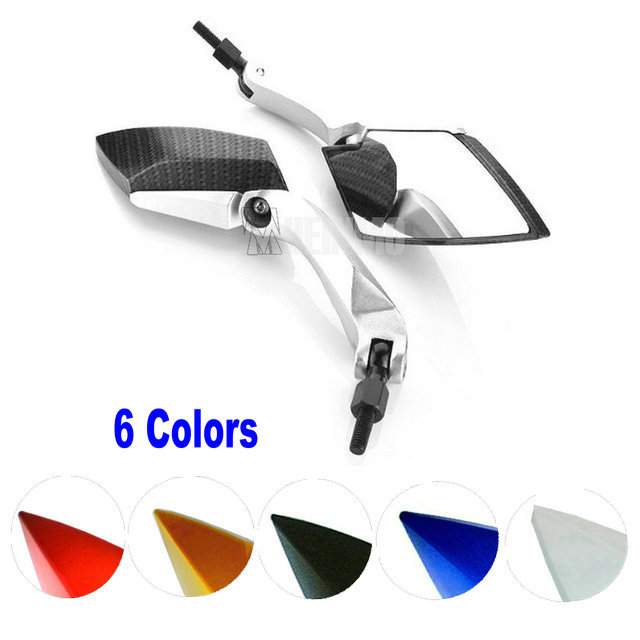 NEW STYLE CARBON FIBER Color Silver Stem Motorcycle RearView Side Mirrors For Honda Suzuki Yamaha