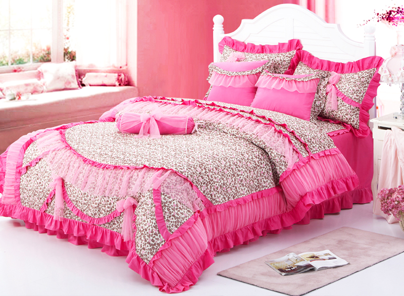 Red Leopard Girls Ruffled Frilly Tulle Cotton Full Queen ...